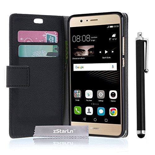 zStarLn® schwarz Hülle Leder Tasche für Huawei P9 Lite Hülle Handytasche Zubehör Schutzhülle Etui + Stylus pen und 3 Films Schutzfolie