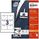 Avery Zweckform L4789-10 Kit pour badges porte-nom Knick & Clip 60 x 90 mm