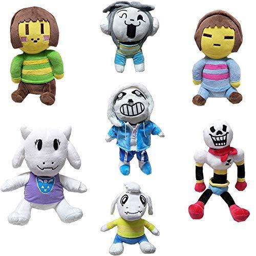 LevinArt 7 Pcs Undertale Plush Toys Doll 20-30cm Undertale Sans Papyrus Asriel Toriel Temmie Chara Frisk Stuffed Plush Toys Kids by LevinArt
