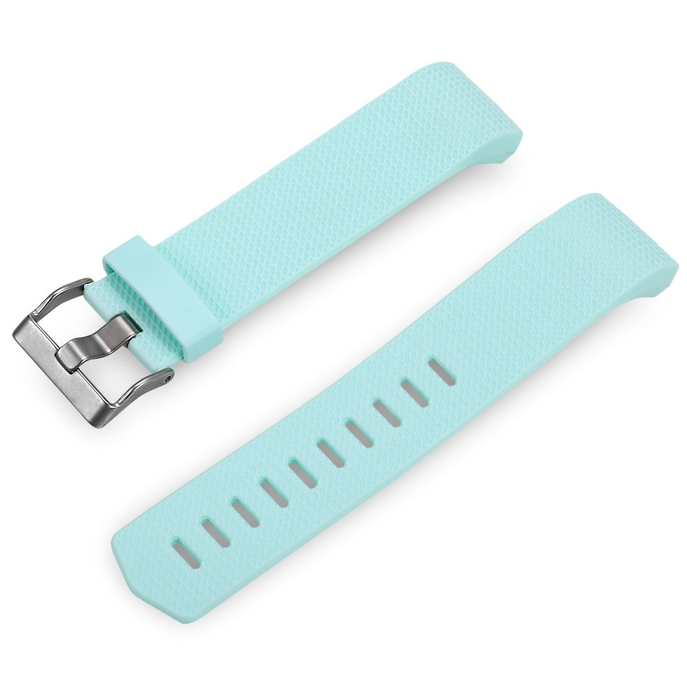 LIUYUNE,22mm Dornschließe Silikonband für Fitbit Charge 2 Smart Wristband(Color:Mint)