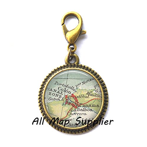 Beautiful Zipper Pull,Panama Canal map Zipper Pull, Panama City, Panama Zipper Pull, Colon Panama Charming Zipper Pull, map jewelry, map Charming Zipper Pull ,AO214