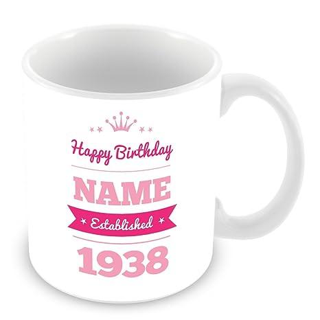 Feliz cumpleaños taza con nombre y año 1936 (a partir de 80 ...