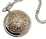 Solid pewter fronted quartz pocket watch – Two tone celtic knot design 8, Watch Central