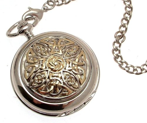 Solid pewter fronted mechanical skeleton pocket watch - Two tone celtic knot design (Celtic Design Watch)