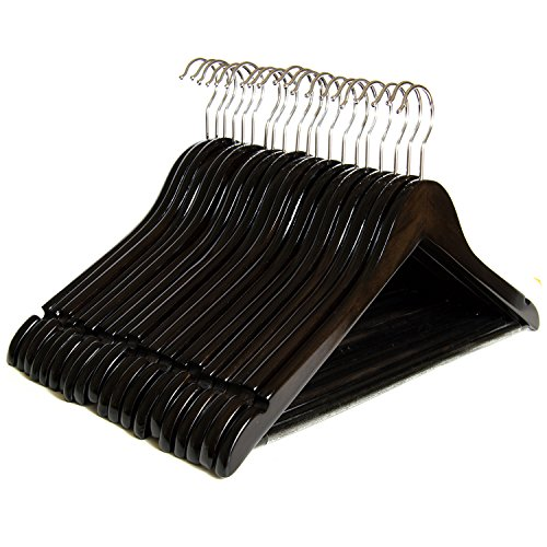 Finish Wood Walnut Bar (Clutter Mate Wood Clothes Hangers Dark Walnut Wooden Coat Hanger 20-Pack)