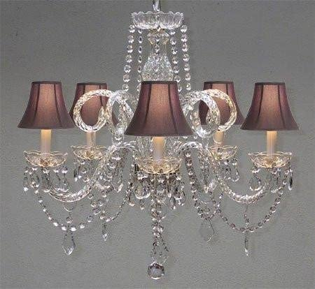 Crystal Chandelier Chandeliers Lighting with Black Shades H 25 X W 24