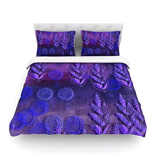 88 x 88 Kess InHouse Marianna Tankelevich Summer Night Purple Lavender Cotton Queen Duvet Cover