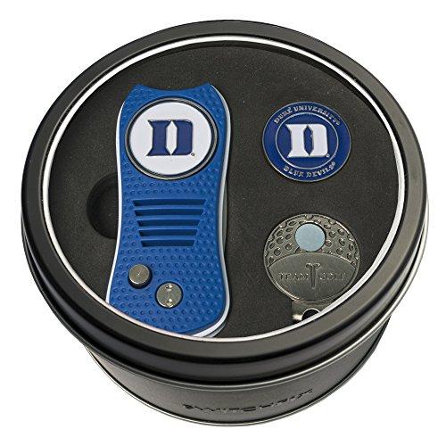 Team Golf NCAA Duke Blue Devils Gift Set Switchblade Divot Tool, Cap Clip, & 2 Double-Sided Enamel Ball Markers, Patented Design, Less Damage to Greens, Switchblade Mechanism (Gear Golf Duke)