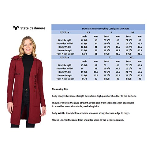 State Cashmere Women's 100% Pure Cashmere Open Front Long Cardigan, Navy, Large by State Cashmere (Image #6)