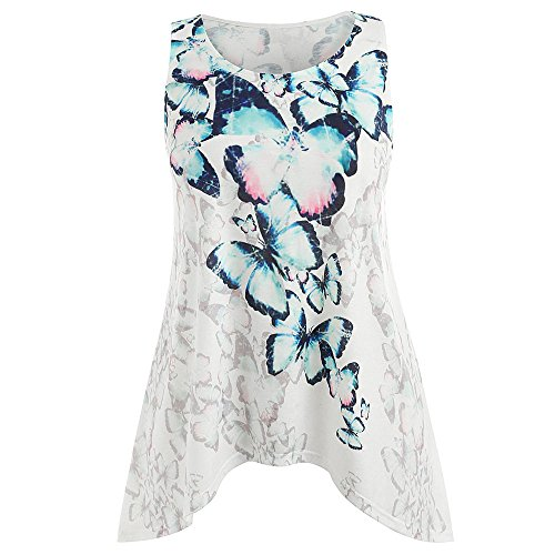 HGWXX7 Women Casual Plus Size Butterfly Print T- Shirt Blouse Cotton Tank Tops (XL, White) (Butterfly Print Tunic)