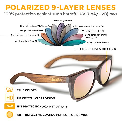 Wood Sunglasses Polarized for Men and Women by CLOUDFIELD - Wooden Wayfarer Style - 100% UV Protection - Premium Build Quality - Bamboo Wooden Frame - Perfect Gift by cloudfield (Image #2)