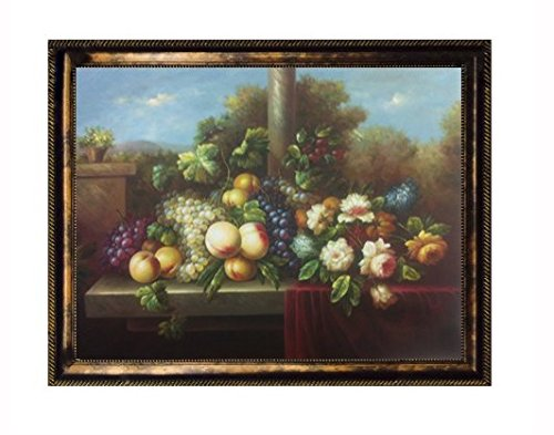 Still Life Original Oil Painting of Fruit: Grapes, Peaches, Cherries; and Flowers: Lilac, Tulips, and Roses (36 X 48) Framed (54.5