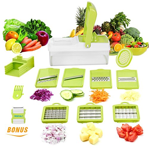 Vegetable Slicer Dicer WEINAS Food Chopper Cuber Cutter, Cheese Grater Multi Blades for Onion Potato Tomato Fruit Extra Peeler Included