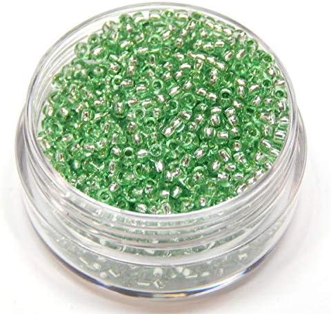 2350 Stück Tschechische Glas Rocailles Preciosa Perlen Größe 11/0 (2,0mm - 2,2mm) mit Dose (Grün Hell Silbereinzug)