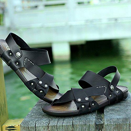 Outdoor Beach Sandals Sandal Shoes Leather MAC Toe Duty U Summer Men's Heavy Black Athletic Fisherman Open BFavcBWqO8