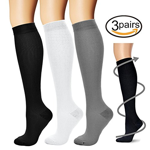 BLUETREE Compression Socks,(3 pairs) Compression Sock for Women & Men – Best For Running, Athletic Sports, Crossfit, Flight Travel ¡­