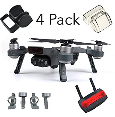 Fstop Labs Accessories Bundle Set For DJI Spark Combo Lens Cap Hood Sun Shade Camera Cover Protector Landing Gear Guard Protective Bubble Remote Controller Clip Accessory By (4 pack) from Fstop Labs