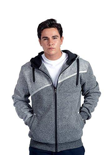 Sherpa Ribbed Sweatshirt (Men's Full Zip Sherpa Lined Colorblock Hoodie (Light Grey/Dark Grey, Large))