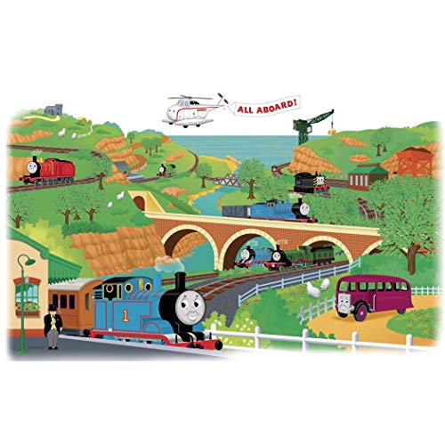 - 2 Piece Kids Blue Brown Green Thomas and Friends Wall Decals Set, Cartoon Themed Wall Stickers Peel Stick, Fun Animated Trains Bus Tank Engine Planes River Bridge Decorative Graphic Mural Art, Vinyl