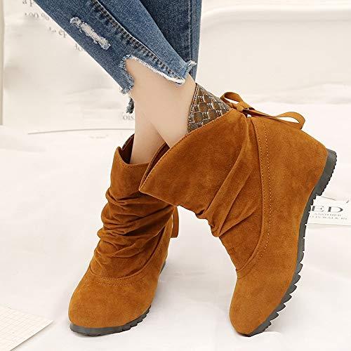 JiaMeng Mujeres Totalmente Alineada Botas de la Nieve del Invierno Botas Planas Low Slip-On Wedges Botines Informal Zapatos Martin Boots: Amazon.es: Ropa y ...
