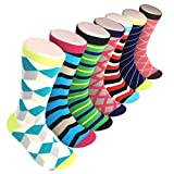 7 Pairs - Soft and Comfortable Cool Fun and Colorful Mens Dress Socks - Luxury Gift set by the Dapper Way