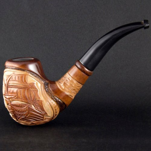 - 6.1'' 'Sailing ship' Carved wooden smoking pipe. Best smoking pipes. WORLDWIDE shipping.