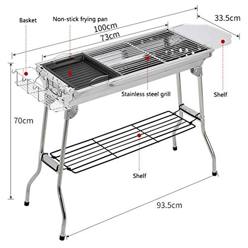 DSHBB Barbecue Grill, Portable Charcoal Barbecue Grill Racks,Household Mini Folding Portable Stand Stainless Camping Outdoor Garden Barbeque Grill Portable