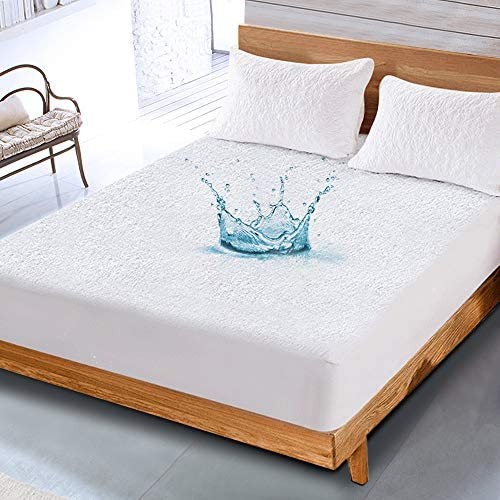 NESAILA Bamboo Waterproof Mattress Protector Cover, Full Size Quilted Fitted Mattress Pad , Cotton Terry Bed Cover Stretches as much as 18'' Deep Pocket – Ultra Thin Breathable Noiseless Bed Sheets