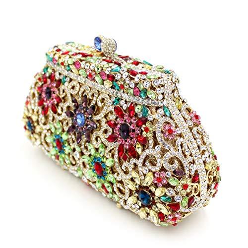 Embrayage Sac Sac la en strass métal de de sac luxe de diamant creux cristal Gold de de de Couronne de papillon dîner de Zr0qZ
