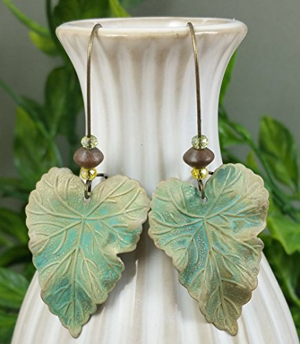 A Pair of Hand Patina Verdigris Brass Le - Weathered Patina Crystal Beads Shopping Results