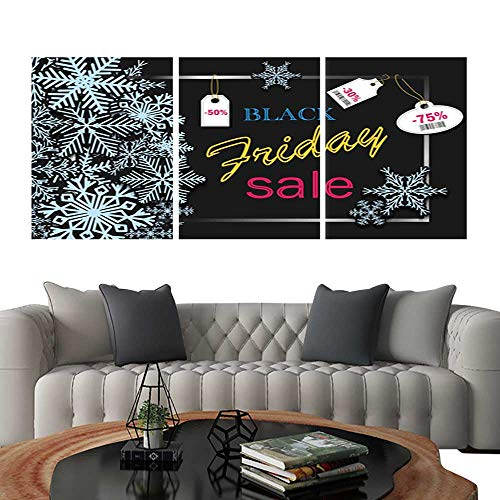 UHOO Prints Wall Art PaintingsBlack Friday Banner Design with Blue Snowflakes and Price for Party for Online Shopping Advertising Actions Magazines and websites Vector Illustration Customiza ()