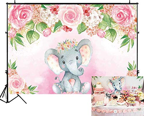Funnytree 7x5ft Pink Floral Elephant Party Backdrop Flowers Girl Baby Shower Birthday Photography Background Photobooth Banner Cake Table Decorations ()