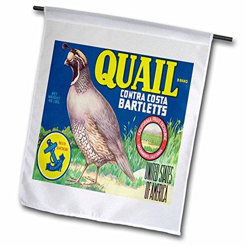 - 3dRose fl_171122_1 Quail Brand Contra Costa Bartlett's California with Quail Bird Garden Flag, 12 by 18-Inch