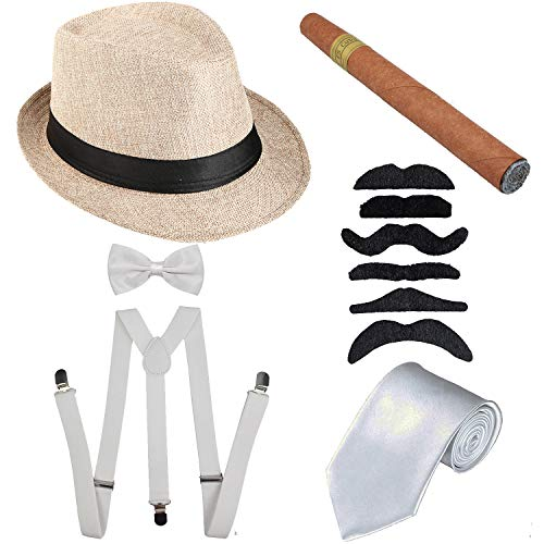 1920s Mens Accessories Hard Felt Panama Hat, Y-Back Suspenders & Pre Tied Bow Tie, Tie,Toy Cigar & Fake Mustache (OneSize, 1Beige) ()