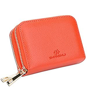 RFID Blocking Credit Card Wallet, SHANSHUI Genuine Leather [Identity Protection] Credit Card Holder 12 Card Slots and Coin Purse (Orange)