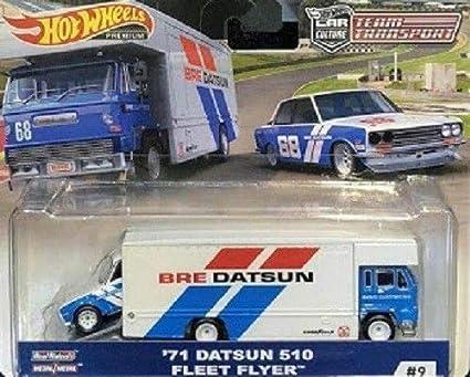 /'71 Datsun 510 /& Fleet Flyer Hot Wheels Team Transport Car Culture  1:64 Scale