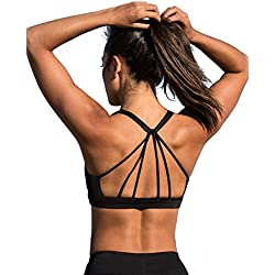icyzone Padded Strappy Sports Bra Yoga Tops Activewear Workout Clothes for Women (S, Black)