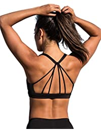 Padded Strappy Sports Bra Yoga Tops Activewear Workout Clothes for Women