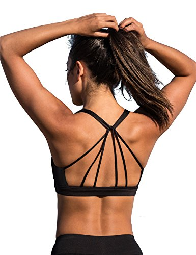 icyzone Padded Strappy Sports Bra Yoga Tops Activewear Workout Clothes For Women (L, Black)