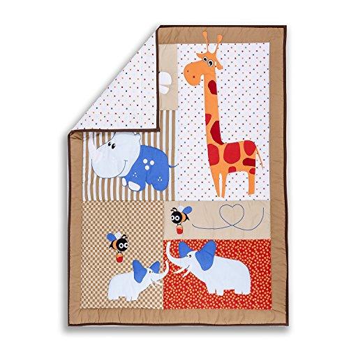 Dream-On-Me-Jungle-Babies-Reversible-5-Piece-Portable-Crib-Set
