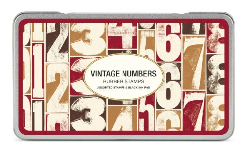 Cavallini Rubber Stamps Vintage Numbers, Assorted with Ink Pad by Cavallini & Co.