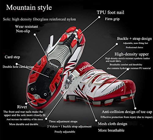 BOODUN Mens Cycling Shoes Breathable Cycle Bike Sport New Mountain Style Deodorant Wear-Resistant Shock Absorption White pl0VV