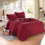 "TWIN BURGUNDY Solid color Quilted Bedspread Coverlet(68""x86"") +2 shams (20""x26"")Hypoallergenic Overfilled Bedcover for homes,hotels/motels, Airbnb, rentals polyester filling 120gsmWeight4lbs"
