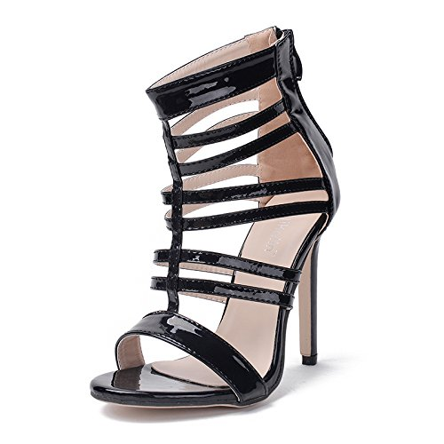 tacchi primavera di black i con nuovo sexy alti alti fine bocca alti ZHZNVX pelle verniciata verniciato tacchi pelle In sandali pesce tacchi scarpe cinturino con 7q7xTSw