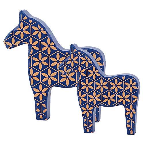 M Mirrwin Juguete Lindo para ninos Artesanias de Caballos Decoracion del Caballo de troya Decoracion de Madera Dala Horse Se Puede Usar para la decoracion de la Mesa de la Sala de Estar 2 Piezas Azul