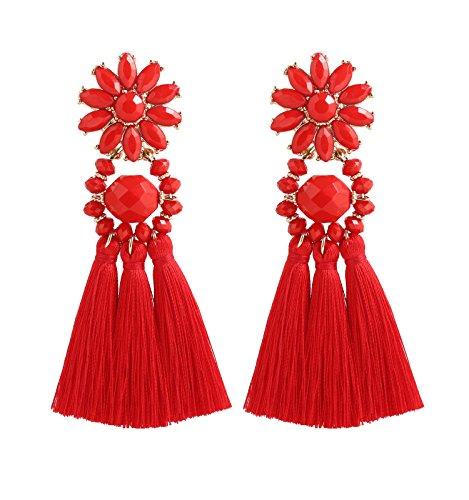 Boderier Bohemian Statement Thread Tassel Chandelier Drop Dangle Earrings with Cassandra Button Stud (Red Flower)