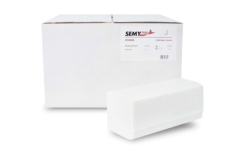 Semy top Asciugamano di carta, piegatura ZZ, 24 x 21 cm, 2 veli, Bianco Brillante, confezione da 3200, Bianco