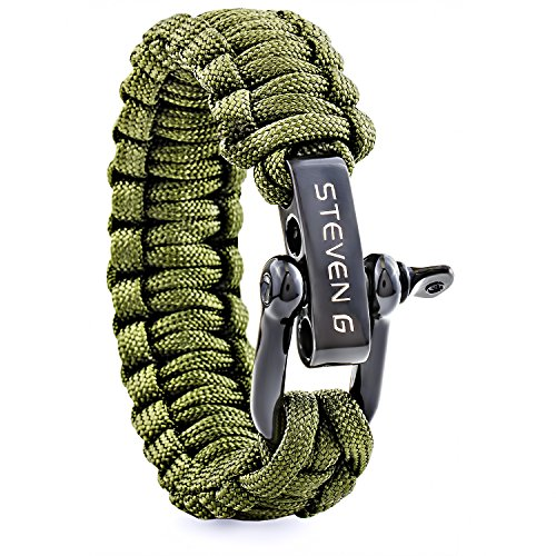 Plated Unisex Bracelets - STEVE G Professional Survival Paracord Handwoven Bracelet Black Plated Stainless Steel D Shackle Adjustable Size Fits 7 to 8 Inch Wrists, Army Green