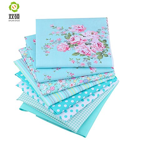 ShuanShuo Blue Series Cotton Fabric Quilting Patchwork Fabric Bundles