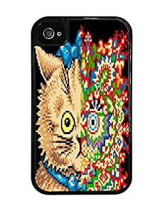 Schizophronic Colorful Cat Black 2-in-1 Protective Case with Silicone Insert for Apple iPhone 4 / 4S by supermalls